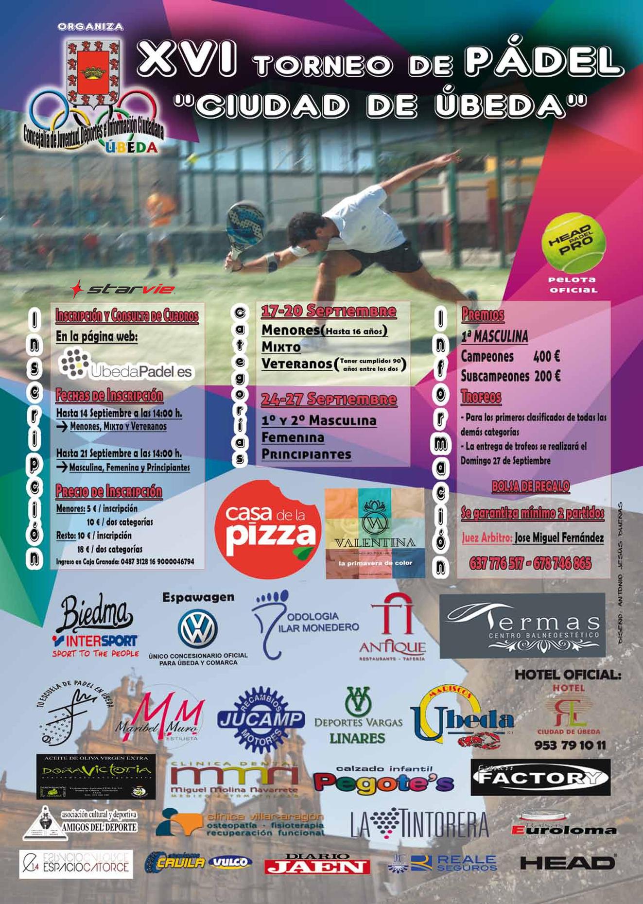 """XVI Torneo de pádel """"ciudad de úbeda"""" - 2015"""